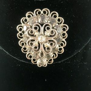 Vintage silver brooch with gray and clear stones